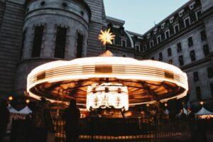 carousel under clear blue sky