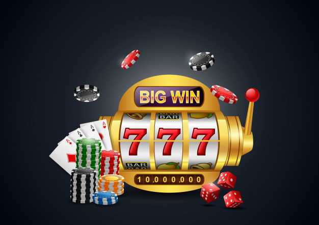 Premium Vector | Big win slots machine 777 casino with chip poker, dice and  playing cards.
